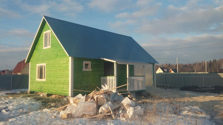Фото каркасно-щитового дома с гаражом до 100 м2