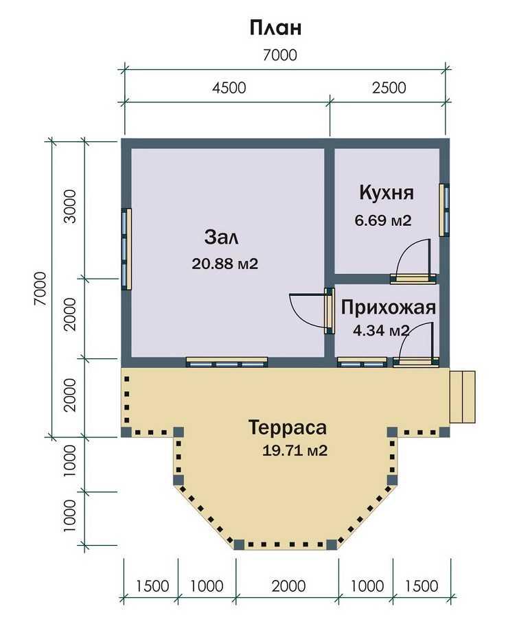 Планировка одноэтажного дома до 100 м2