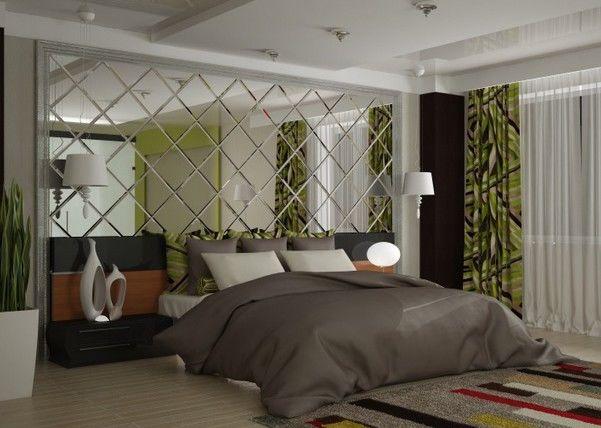 Зеркальная плитка в интерьере спальни