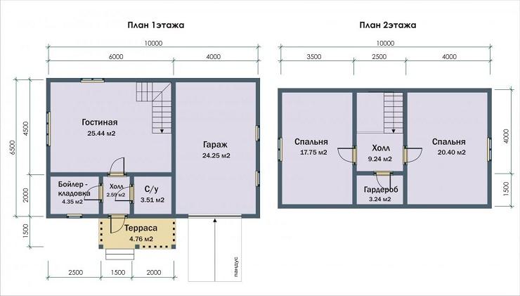 Схема проекта каркасно-щитового дома с гаражом