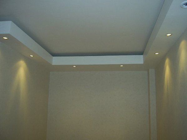 Двухуровневый потолок из гипсокартона своими руками с подсветкой фото