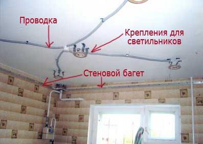 Двухуровневый натяжной потолок с подсветкой фото