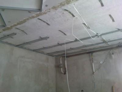 Крепление профиля для подвесного потолка из гипсокартона