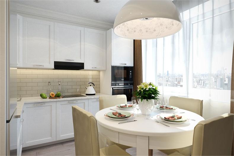 Дизайн маленькой кухни в светлых тонах фото
