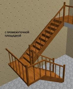 Лестница из дерева на второй этаж с промежуточной площадкой