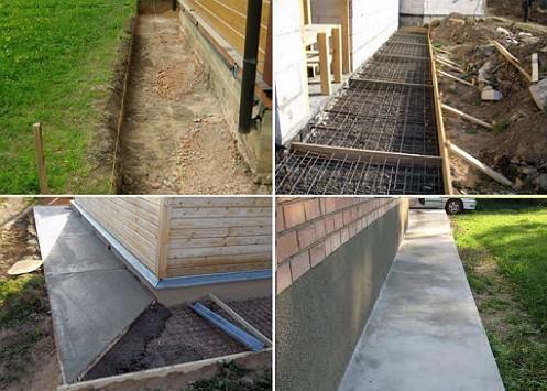 Этапы устройства бетонной отмостки вокруг дома